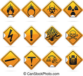 Glossy Diamond Hazard Stickers - 12 glossy hazard signs The...
