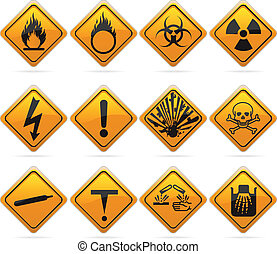 Glossy Diamond Hazard Signs - 12 glossy hazard signs. The...