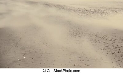 Sandstorm on the beach - Sandstorm by strong wind (8 Bft) on...