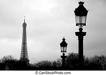 Paris Eiffel tower in black and white
