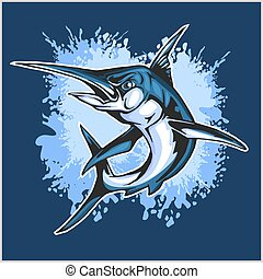 Realistic blue Marlin fish illustration on blue.
