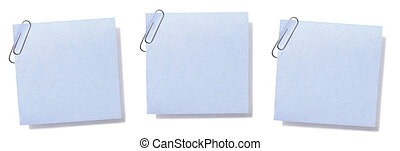 Blank Sticky Notes - Blank, paperclipped blue sticky notes.