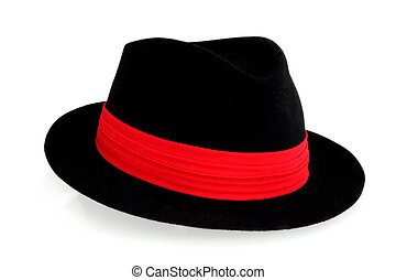 Black Fedora Hat - Black fedora hat with red hatband,...