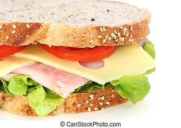 Sandwich - Ham, cheese, lettuce and tomato sandwich on...