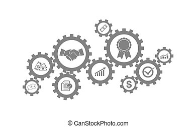 The gear Business Machine. Vector Illustration