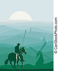 Vertical illustration of horseman (Don Quixote) galloping in front of windmills.