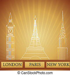monuments of london new york and paris - illustration of...