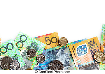 Australian Money - Australian notes and coins, on white...