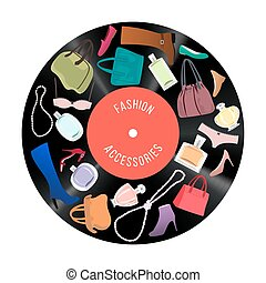 Patch of Woman fashion items and accessories on vinil disc -...