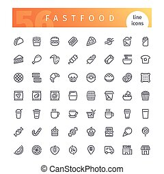 Fastfood Line Icons Set - Set of 56 fastfood line icons...