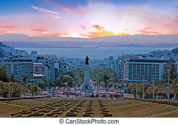 Statue from Eduardo VII park in Lisbon Portugal at sunset