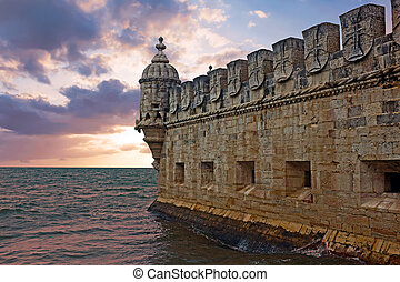 Belem tower in Lisbon Portugal at sunset