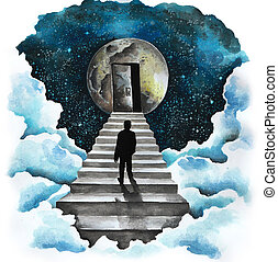 Man on the stairs to the moon