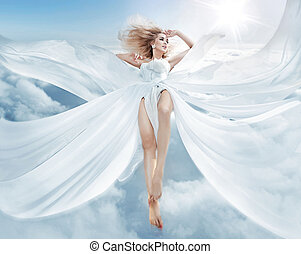 Portrait of a flying blond nymph - Portrait of a pretty...