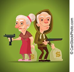 Bonnie and Clyde. Grandma and grandpa characters thieves....