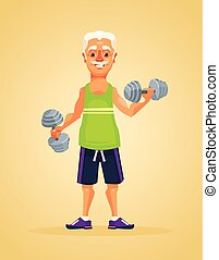 Grandfather character doing exercise. Vector flat cartoon...
