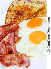 Bacon and Eggs - Breakfast of bacon and eggs with wholewheat...