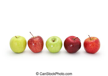 Apples in a row, isolated on white with natural shadow...