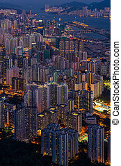 Top view from The lion rock park, sunset onver Kowloon and...