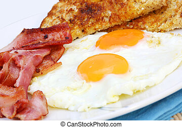 Bacon and Eggs - Home-cooked eggs and bacon rashers, with...