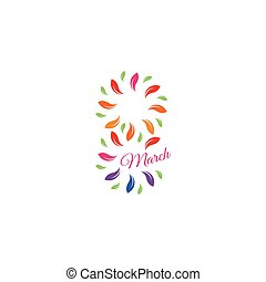 Isolated colorful number eight of leaves and petals with pink word march icon, international women day greeting card element vector illustration.