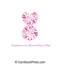 Isolated pink color number eight of petals icon, international women day greeting card element vector illustration.
