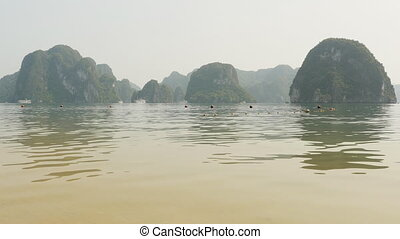 Mountain Ha Long Bay. North Vietnam. (Shot in 4K -...