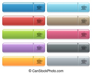 Cup of coffee icons on color glossy, rectangular menu button...