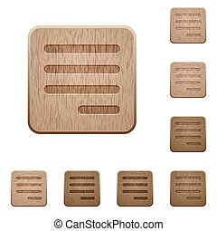 Text align justify last row right wooden buttons - Text...