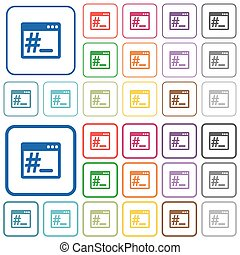 Linux root terminal outlined flat color icons - Linux root...