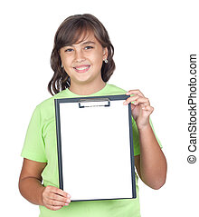 Adorable preteen girl with a blank clipboard isolated on...