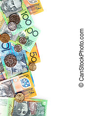 Australian Money - Australian notes and coins form a border...