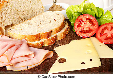 Sandwich Fixings - Making a sandwich ~ ham, swiss cheese,...