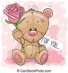Cartoon Bear with flower on a pink background