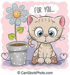 flor, saludo, tarjeta, gato