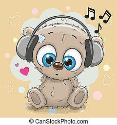 Cute cartoon Teddy Bear with headphones on a yellow...