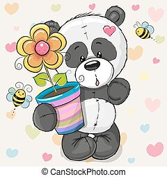 Cute cartoon Panda with flower