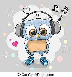 Owl with headphones and hearts - Cute cartoon Owl with...