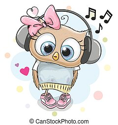Owl Girl with headphones and hearts - Cute cartoon Owl Girl...