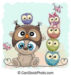 Teddy Bear and five Owls - Cute Cartoon Teddy Bear and five...