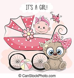 Baby girl with baby carriage and teddy bear