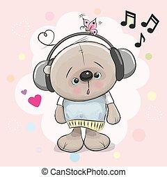 Teddy Bear with headphones - Cute cartoon Teddy Bear with...