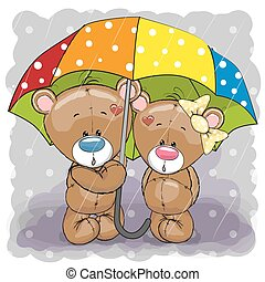Two cute cartoon bears with umbrella under the rain