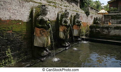Fountains at Goa Gajah Temple (The Elephant Cave Temple)....
