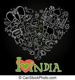 Set of India heart shaped on black background , cartoon...