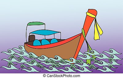 Longtale boat, cartoon vector illustration