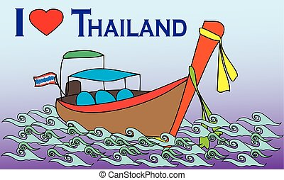 Longtale boat, i love Thailand cartoon vector illustration