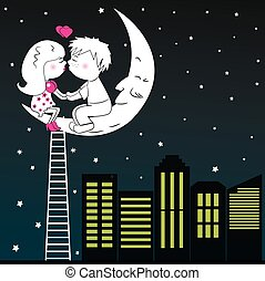 A loving couple kissing sitting on the moon at night, vector.