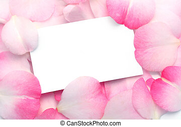 Gift Card and Pink Petals - A blank gift card amidst pretty...