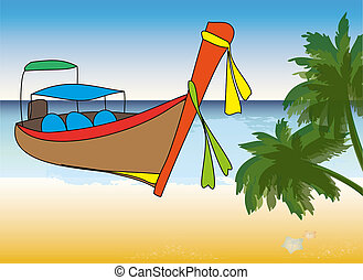 Longtale boat, cartoon vector illustration - Longtale boat...